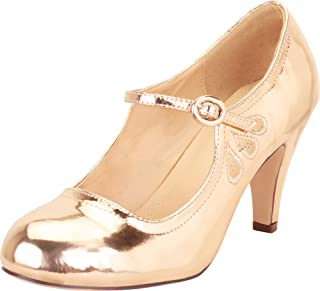 Cambridge Select Women's Round Toe Mid Heel Mary Jane Dress Pump
