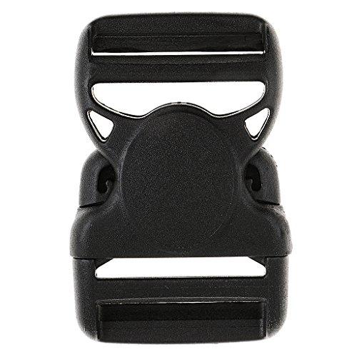 HomeDecTime Hebilla de Liberación Lateral Doble de Plástico Negro para Correas de Correa de Mochila de Pulsera de Paracord - 38mm