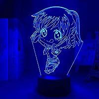 女の子のための3 dの夜のライトティチャンのスシャブラウスのアニメ3Dランプのチャイビ光のための寝室の装飾のための子供たちのティートの攻撃タイタンのledの夜のライトランプLedナイトライト16色リモコン-7色+タッチ