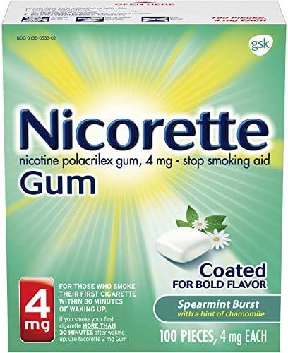 Nicorette Nicotene Gum Spearmint Flavor Coated 4 mg Stop Smoking Aid, 307667780000 Spearmint Burst, 100 Count