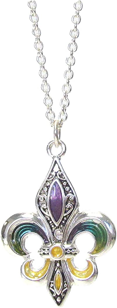 Fashion Jewelry ~ Multi Color Fleur De Lis Pendant Necklace for Women Teens Girlfriends Birthday Gifts