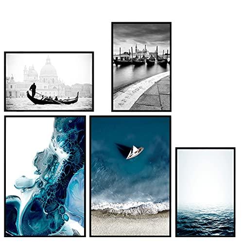 decomonkey | Poster 5er – Set mit schwarzem Rahmen schwarz-weiß Abstrakt Kunstdruck Wandbild Print Bilder Bilderrahmen Kunstposter Wandposter Posterset Strand Meer Stadt Vending Stein Blau