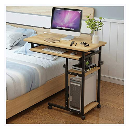 Overbed Table Days Overbed Table Mobile Laptop Stand Desk Adjustable Height 4 Casters Foldable Laptop Stand FFFF (Color : Yellow)