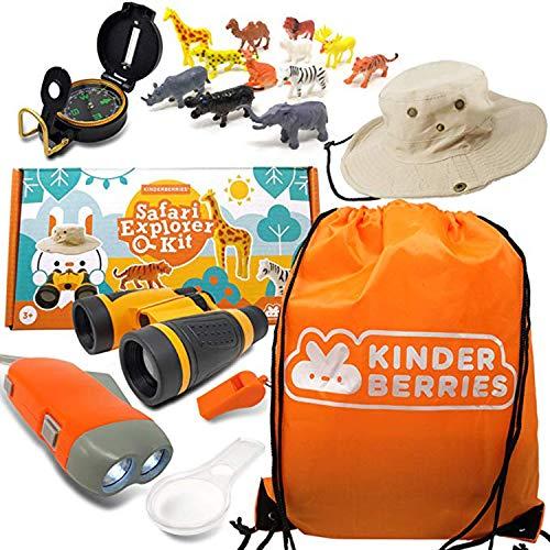 WhizBuilders Kids Explorer Kit : Outdoor Binoculars , Animal Figurines , Hand Crank Flashlight , Safari Boonie Hat , Camping Gear , Magnifying Glass , Compass , Educational Toddler Toys for Kids