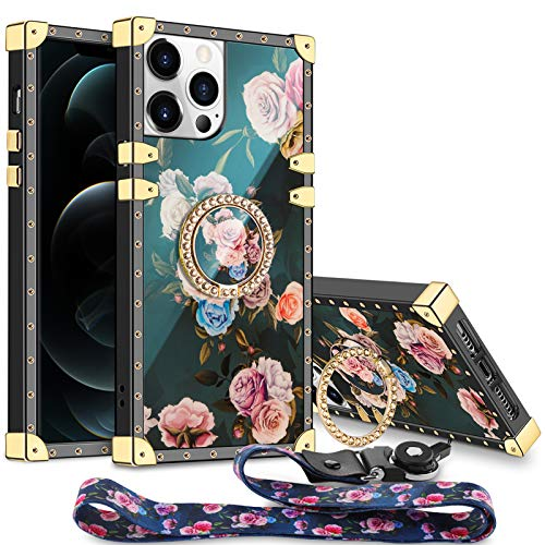 Aemotoy for iPhone 12 Pro Max 5G Case Floral Cute with Ring Holder Grip Lanyard Girly Square Reinforced Corners Protective Shell Flexible TPU Shockproof Cover for iPhone 12 Pro Max 5G 6.7 inch Peony