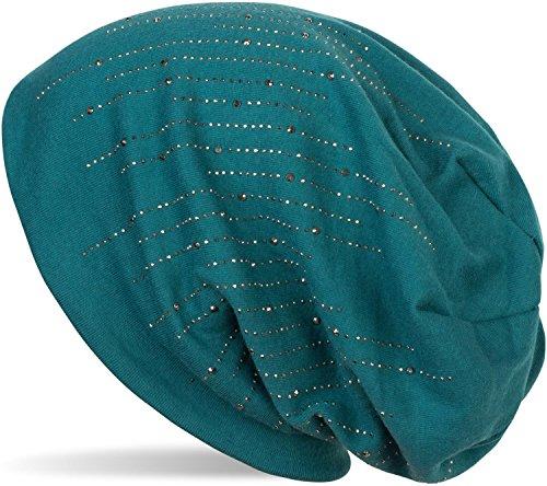 styleBREAKER Beanie Mütze mit Strass Nieten im Elden Streifen Design, Slouch Longbeanie, Unisex 04024086, Farbe:Petrol