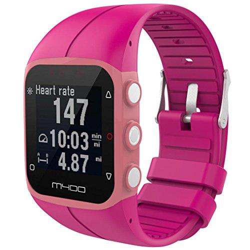 SHOBDW Polar M400 Armband, Weicher Silikon-Gummi-Uhrenarmband-Handgelenk-Bügel für Polar M400 M430 Fitnessuhr (23MM, Heiß Rosa)