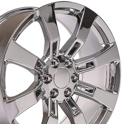 OE Wheels LLC 22 Inch Fits Chevy Silverado Tahoe GMC Sierra Yukon Cadillac Escalade Style CA82 22x9 Rims Chrome SET
