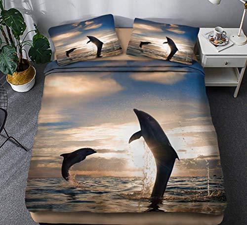 JZZCIDGa DuvetCover Sunset Dolphin Set3PiecesBeddingQuiltCoverBeddingUltraSoftDouble