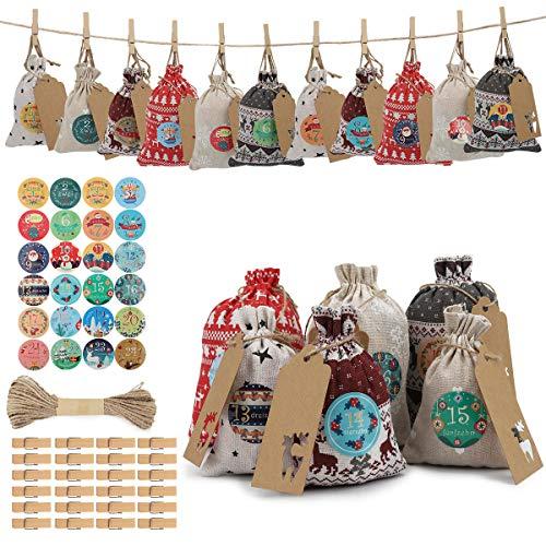 Herefun 24Pezzi Calendario Dell'avvento, Sacchetti Juta con 1-24 Adesivi Numerici+24 Clip+10mCorda di Canapa, Sacchetti Tessuto Calendario Natale Sacchetto Sacchetti di Natale