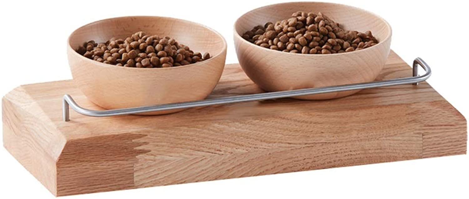 Cat Dog Bowls, Pet Dining Table, Red Oak Cat Food Bowl Cat Feeding Bowl Cat Water Bowl, Double Bowl Feeder, for Cats Puppies (Size   L)
