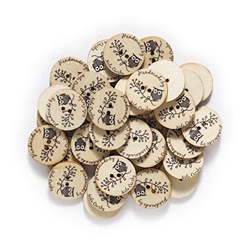 Botones de ropa 50 unids Búho Botones de madera para coser Scrapbooking Ropa Artesanía Handmadecard Hacienda DIY Decoración para el hogar Herramientas 25mm Utilizado para bricolaje, costura, etc.