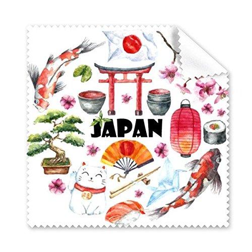 Cultura de Japón–japonés estilo acuarela bandera nacional de gato sakura Sushi Palillos...