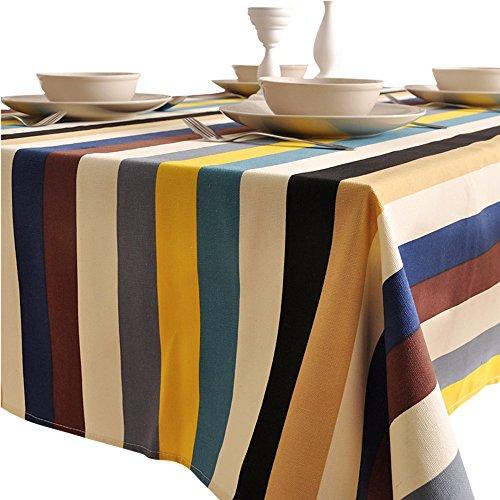 rectangulaire 140 x 140 cm en coton et lin à rayures Nappe, Tissu, 140*220