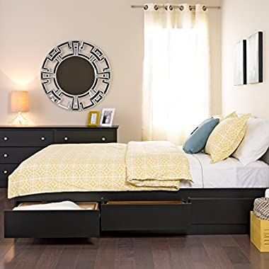 Prepac -3K Queen Sonoma Platform Storage Bed with 6 Drawers, Black