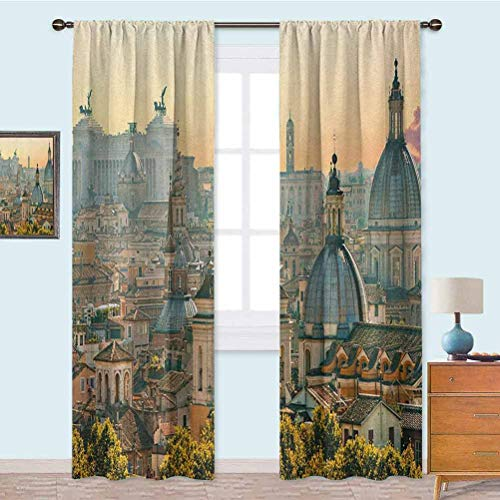 YUAZHOQI Blackout Curtains View of Rome from Castel SantAngelo Italy Historical Landmark Vatican Blackout Curtain for Living Room 52' x 108' Pale Salmon Ivory Green