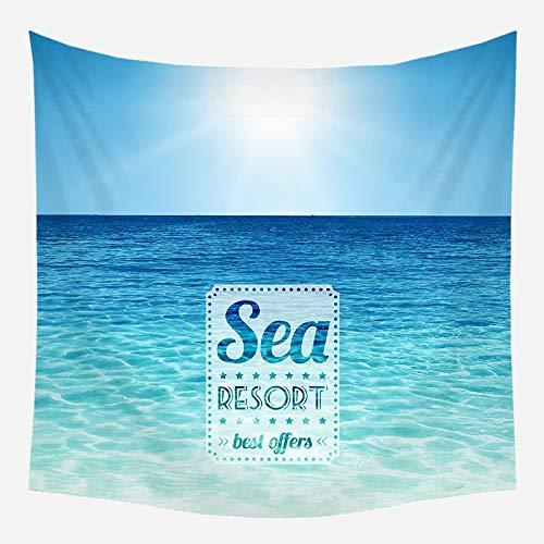 Sol mar tapiz océano playa colgante de pared paisaje de agua decoración de la playa paño de pared nube azul tela de fondo de espuma azul a8 150x200cm