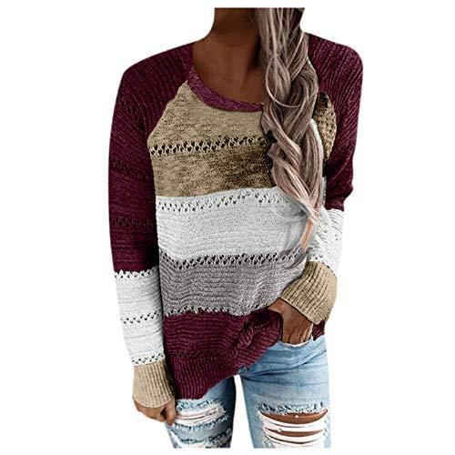 Berimaterry pullover mujer Suéter Tejido de Punto de manga large camisetas otoño Jerséis de talla grande...