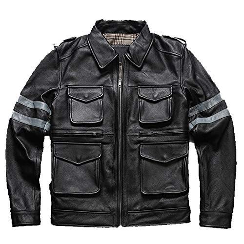 Chaqueta De Cuero para Hombre Moto Abrigo De Motocicleta PU Vintage Negocio Abarcadero Primavera Abrigo Suave Casual Outcoat Racer Outwear