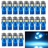 EverBright 20-Pack 194 Led Bulb T10 194 168 W5W 2825 LED Bulb for Car Interior Lights Dome Map Trunk Light Dashboard Bulb License Plate Light, 5050 5SMD, Ice Blue, DC 12V
