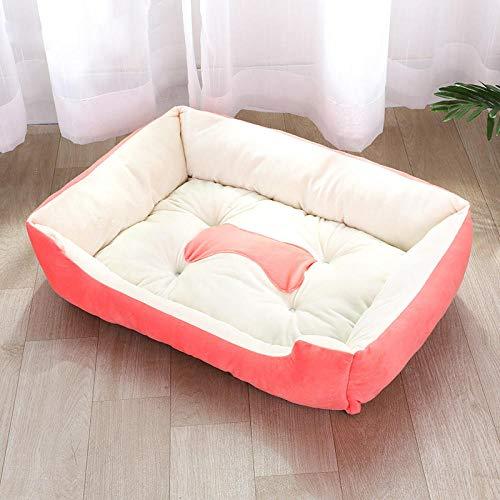 Cama para Perros de Felpa Suave y cálida Cama para Perros Cama para Dormir mullida sofá para Mascotas Perros pequeños y medianos de Varios tamaños -Rosa_Los 80cm