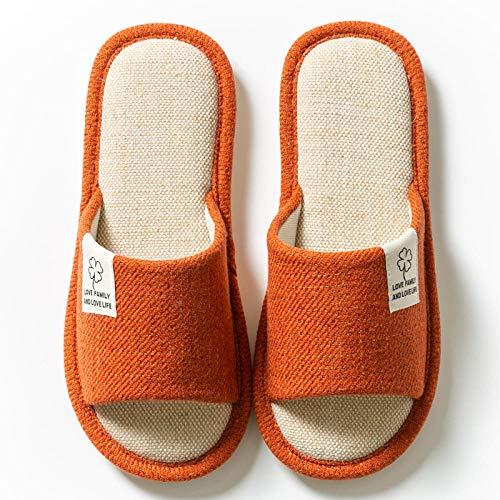 HUSHUI Zapatillas Peluche AlgodóN Suave Rosa,Calientes Pantuflas de algodón Antideslizante, hogar Interior algodón-Orange_36-37,Forro Estilo Invierno Pantuflas