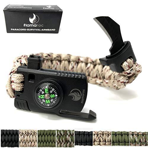flamaroc® Claw - Premium Survival Armband extrabreit - 5 in 1 Verschluss mit Messer - Paracord 550 Armband - Farbe Tarn Beige, normalbreit (2,4 cm)