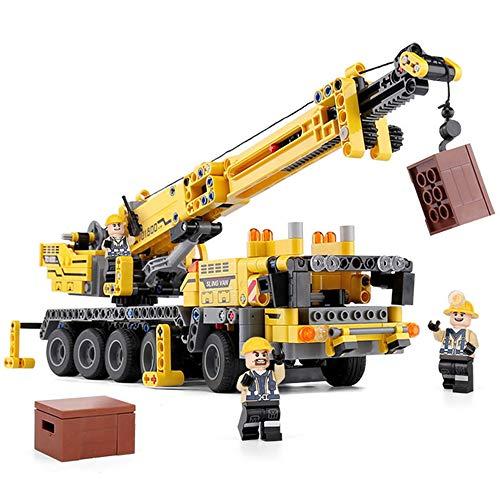 GWX Schwerlastkran Technik Fahrzeug, Kinder Lernspielzeug mit Montage Partikel von Kran Building Blocks, Geeignet für Kinder ab 8 Jahren und Erwachsene
