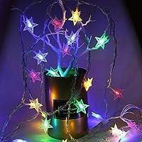 ロマンティッシュ 結婚式の庭の装飾のためのクリスマスライト、きらめく星のLEDが点灯し、バッテリー駆動のストリングライト クリスマスの飾り (Color : Star multi color, Size : 3M 20LEDs)