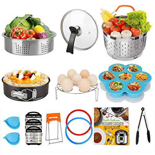 Cooking Accessories Set Compatible with Instant Pot Accessories 8 Qt Only, 8 Quart Accessory Kit with 2 Baskets Glass Lid Silicone Sealing Rings Springform Pan Cookbook