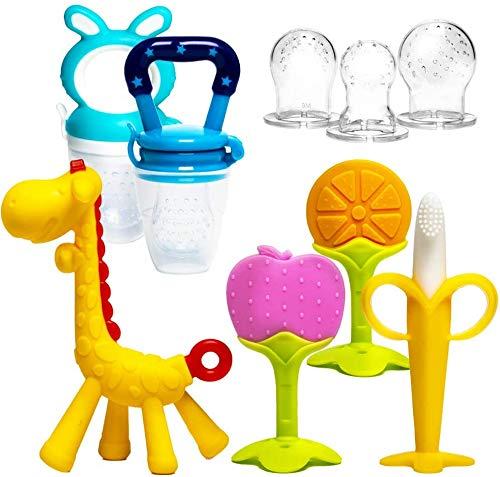 HONGTEYA Beißring für babys 6 Stück Beißring Spielzeug BPA-frei Fruchtsauger Baby 2 Silikon Sauger in 3 Größen Weich Sicher Silikon