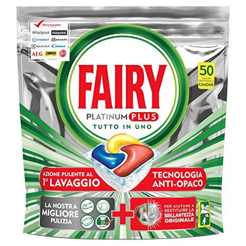 Fairy Platinum Plus 50 Pastiglie Per Lavastoviglie, Detersivo in Confezione da 50 Caps, Limone