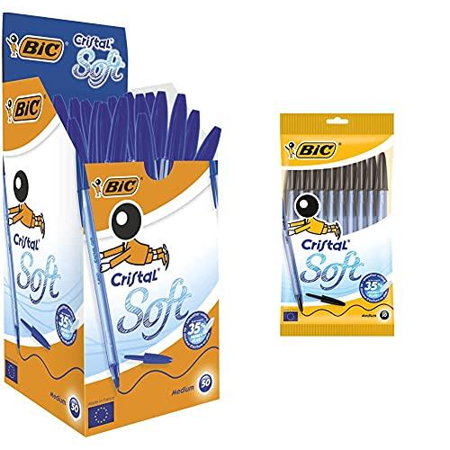 BIC Cristal Soft Bolígrafos Punta Media (1,2 Mm) - Azul, Caja De 50 Unidades + Cristal Soft Bolígrafos Punta Media (1,2 Mm) - Negro, Blíster De 10 Unidades