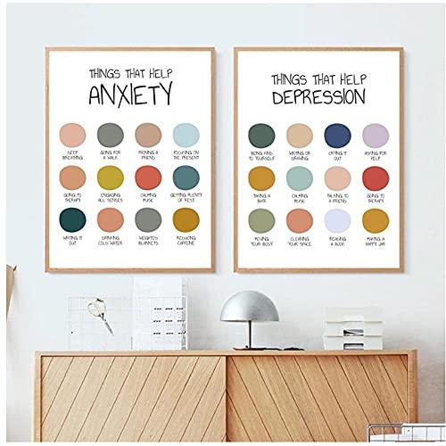 BINGJIACAI Ansiedad Terapia de depresión Póster Impresión Salud Mental Pintura en lienzo Autocuidado Arte de la pared Imágenes Decoración de oficina Regalos-40x60cmx2 Sin marco