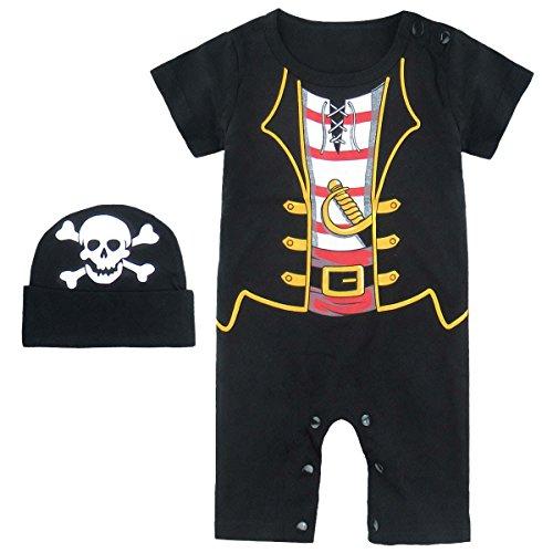 MOMBEBE COSLAND Baby Jungen Halloween Piraten Kostüm Strampler mit Hüte (12-18 Monate/90, Piraten)