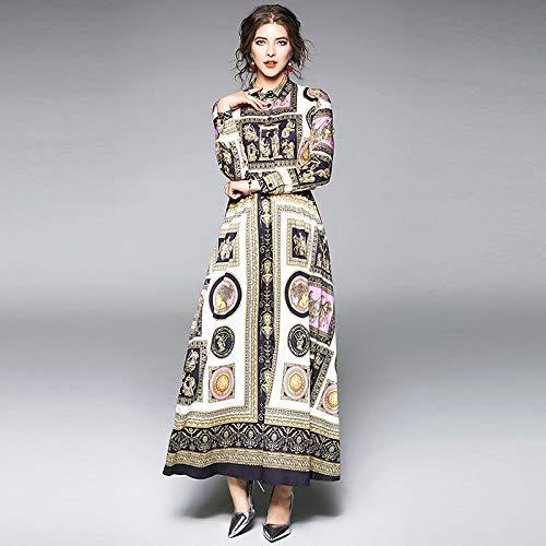 QUNLIANYI Jurk Lange Mouw Maxi Jurk Lange Mouw Patroon Jurken Vrouwen Elegante Lange Vintage Knop Party Ball Dress