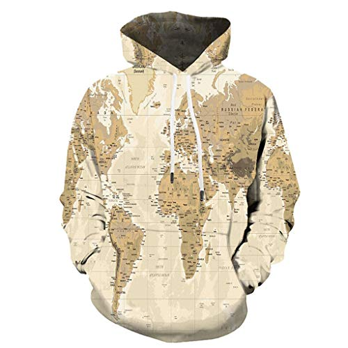 LQQSTORE Herren Kapuzenpullover Weltkarte 3D Map Drucken Langarm Hooded Hoodie Sweatjacke Hooded Asymmetrisch Gestreifte Hip-Hop (Weiß, XL)
