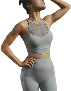 XFKLJ Sports Bra Yoga Pants 2 Pieces Seamless Yoga Sets for Women Push Up Sports Bra+Yoga Leggings Gym Suit Cropped Top Sh...