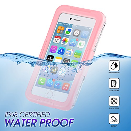 Waterproof Phone Case for iPhone6/6s/7/8 iPhone 6plus/6splus/7plus/8plus, Outdoor Diving Waterproof and Fall-Proof Mobile Phone Protective Cover (Pink, iPhone 6/6s/7/8)