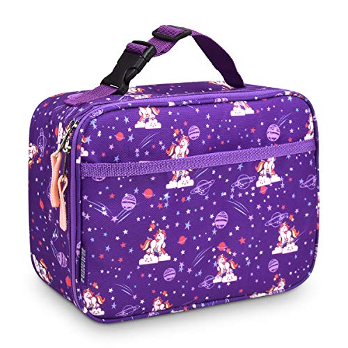 Kids Insulated Lunch Box for Boys and Girls, Perfect Size for Packing Hot or Cold Snacks for School,Cute Patterns Coordinate with Backpacks, Print the Unicorn, Standard with Buckle (Unicorn, Purple)
