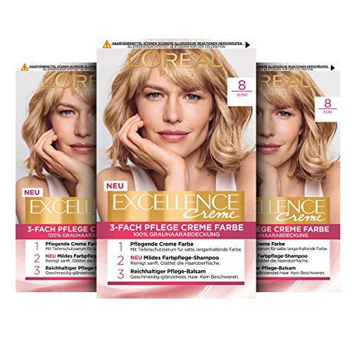 L'Oréal Paris Excellence Creme Permanente Haarfarbe, 100% Grauhaarabdeckung, Haarfärbeset mit Coloration, Shampoo und 3-fach Pflegecreme, 8 Blond, 3 x 268 g