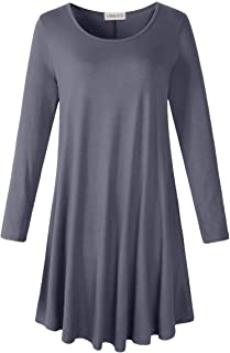 LARACE Women's Long Sleeve T Shirt Dresses Casual Pockets Loose Swing Tunic