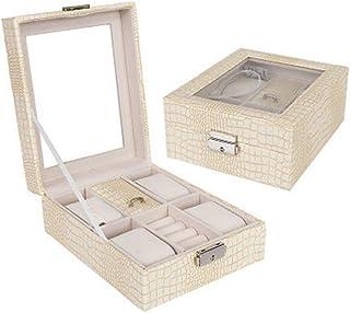 Jewelry Box Jewelry Storage Box Women's Retro Gift Earrings Jewelry Box(Beige One Size)