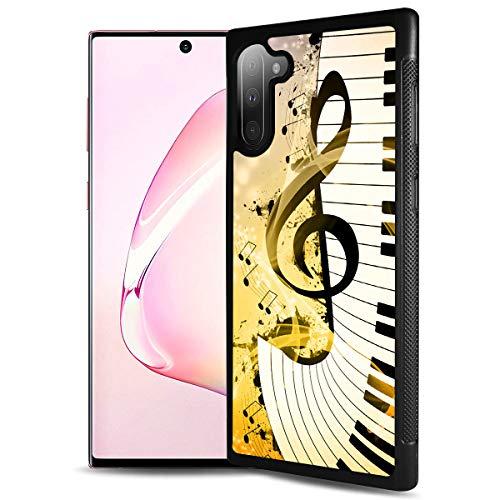 HOT12221 Schutzhülle für Samsung Note 10, Galaxy Note 10, strapazierfähig, weiche Rückseite, Handyabdeckung, Motiv: Notenzeichen, Tastatur 12221