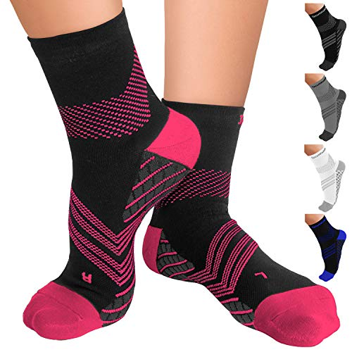 TechWare Pro Plantar Fasciitis Socks – Ankle Compression Socks Women & Men. Cushion Compression Nano Sock & Arch Support.