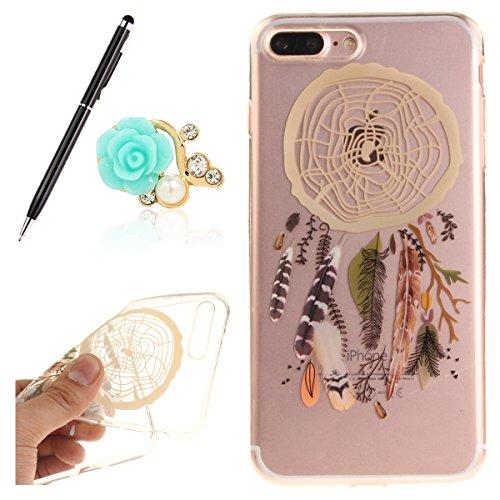 iPhone 7Plus Cover,Uposao per iPhone 7Plus con porta modello Soft TPU Case facile gomma Bumper Protezione Guscio Cover con Crystal Design,Farbe Feder Campanula,iPhone 7 Plus