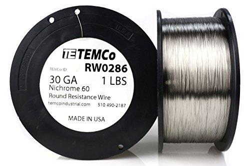 TEMCo Nichrome 60 series wire 30 Gauge Resistance AWG ga