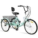 Ey Adult Tricycle, 3 Wheel Bike Adult, Three Wheel Cruiser Bike 24 26 inch Wheels, 7 Speed, Adjustable Seat and Handlebar, Multiple Colors (Cyan, 26' Wheels/7-speed)