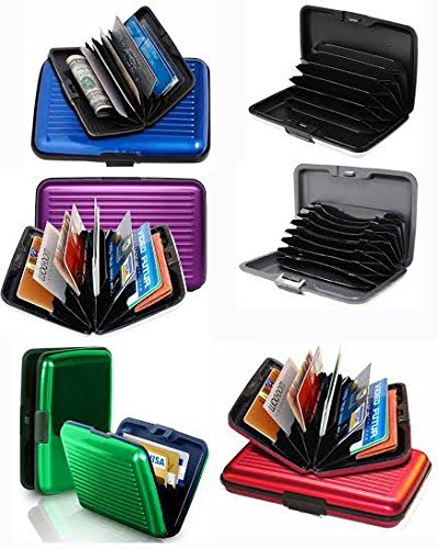 Set of 6 Aluminium Metal Credit Card Wallet Holder/Moneybag Storage- Prevent Identity Theft by Blocking RFID Scanning of Your Credit Cards (Assorted Colors) Size 11x7x5.2cm