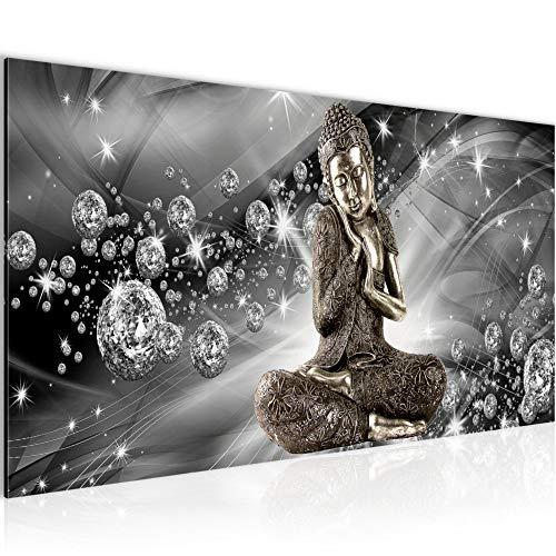 Runa Art Bilder Buddha Feng Shui Wandbild 100 x 40 cm Vlies - Leinwand Bild XXL Format Wandbilder Wohnzimmer Wohnung Deko Kunstdrucke Grau 1 Teilig - Made IN Germany - Fertig zum Aufhängen 505412c